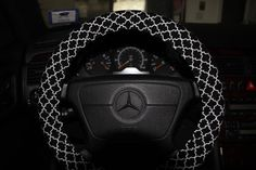 Steering Wheel Cover .Black and White Moroccan  by SouthernAplus
