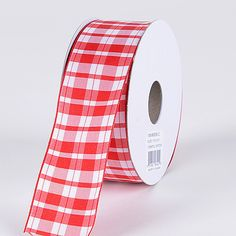 Gingham Ribbon Wired Edge Red ( 1-1/2 Inch x 10 Yards )