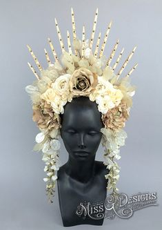 Flower Headdress with Spike Crown by MissGDesignsShop on Etsy