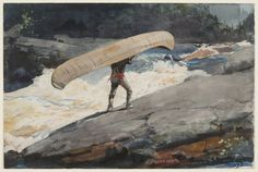 "artist-homer: ""The Portage, Winslow Homer Size: 53.3x35.5 cm Medium: watercolor"""