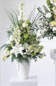 Just Flowers: Weeping Lilies Sympathy Arrangement