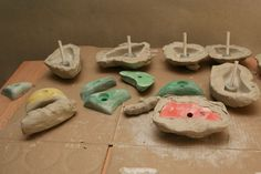 DIY rock climbing holds. Would be fun for the playroom!