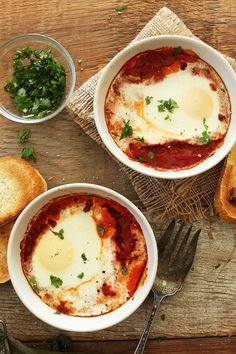 Vegetarian Baked Eggs | minimalistbaker.com #vegetarian. Would be great for breakfast, brunch, lunch or dinner. Would be easy to make the sauce ahead and have it come together even faster.