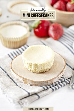 A delicious and simple dessert for a low-carb, high-fat diet. This Mini Keto Cheesecake Recipe is the perfect size for a practical treat. Enjoy as-is or with sliced strawberries. Recipe at livelaughrowe.com #keto #cheesecake #MiniDessert