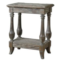 Graceful with simplistic trimmings, the Uttermost Mardonio End Table will embellish the interiors of your living room. Fashioned with traditional and rustic accents, the end table will add a spark to any void of your living room. <br/><br/>Carved out of manufactured wood and solid wood, the end table is the essence of traditionalism. The top and base materials are made out of solid fir wood with saw mark distressing and manufactured wood, enhancing the vintage elements o...