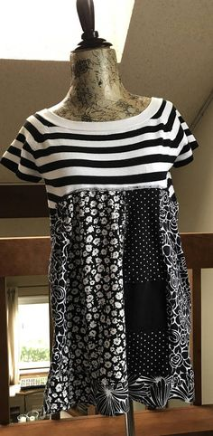Upcycled repurposed funky tunic in black and white a bit