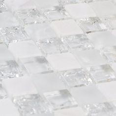 Gorgeous Glass Mosaic Tile Design Ideas For Kitchen Backsplash - TopDesignIdeas Glass Tile Backsplash, Glass Mosaic Tiles, Stone Mosaic, Kitchen Backsplash, White Glass Tile, Cement Tiles, Backsplash Ideas, Stone Tiles, Wall Tiles