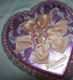 2 Vintage Heart Shaped Chocolate Candy Boxes Over 50 Years Old