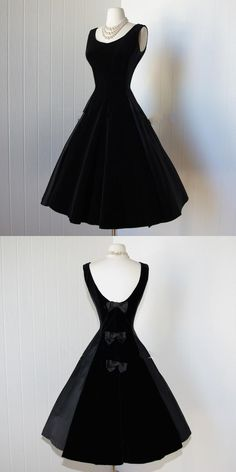 Delicate Black Satin Prom Dresses 2015 Scoop  Backless Little Black Dresses Vintage 1950s Dress Cocktail Party Dress with Bows