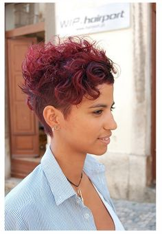 asymmetric curly pixie - Google Search