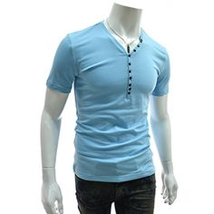 (DK39-SKY) Slim Fit Button Down Short Sleeve Tshirts