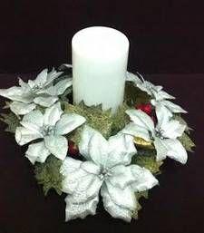 Christmas decoration silver Ponsettias candle holder shop online Rs 750