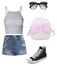 """""""Asinhas"""" by victoria-brandao ❤ liked on Polyvore featuring Pieces, Glamorous and Converse"""