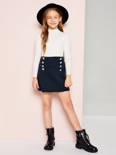 SheIn offers Girls Double Button Solid Skirt & more to fit your fashionable needs. Teenage Girl Outfits, Girls Summer Outfits, Girls Fashion Clothes, Cute Girl Outfits, Little Girl Outfits, Tween Fashion, Teen Fashion Outfits, Cute Outfits For Kids, Cute Casual Outfits