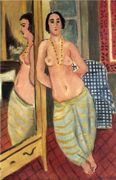 Page : Standing Odalisque Reflected in a Mirror / Artist : Henri Matisse / Date : 1923 / 이국적인 검은 머리의 여성이 전신거울에 기대어 서 있는 모습이다. 상체만 누드로 목걸이를 걸치고 있어 이국적인 분위기가 증폭된다.    거울을 자신을 확인하는 도구로써가 아닌 작품 내부의 의도적인 구도 배치를 위해 사용한 것을 알 수 있다.