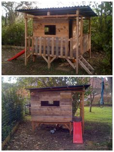 Kid's house made out of pallets  Awesome !!!!