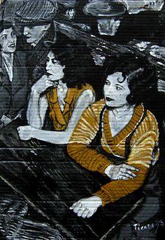 Amistad, obra realizada tras el estudio de Paris en 1930, acrílico sobre cartón, serie en blanco y negro y otra color.