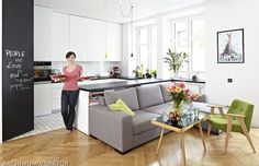 Kitchen with living room Open Plan Kitchen Living Room, Small Living Rooms, Living Spaces, Condo Design, Small House Design, Dream House Interior, Apartment Kitchen, New Homes, Furniture