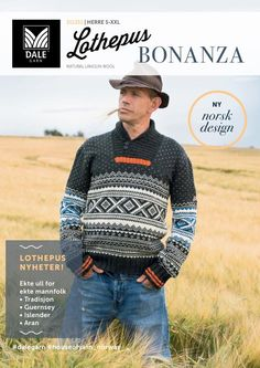 Ny katalog fra Dale Garn: Lothepus Bonanza | Strikkeoppskrift.com Knit Crochet, Men Sweater, Wool, Baseball Cards, Knitting, Sewing, Inspiration, Sports, Sweaters