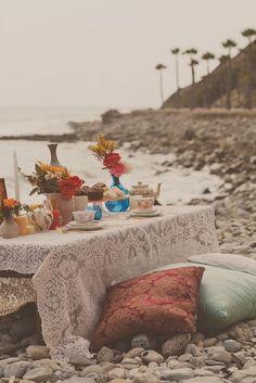 Maybe my favorite so far! Bohemian Beach tea party {Yuna Leonard Photography}    https://www.facebook.com/AlwaysTeaTime  http://alwaysteatimeallison.blogspot.com/