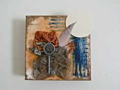 Original Art, Searching for Clarity, Mixed Media Art, Mixed Media Collage, Assemblage, Mini Box Canvas Art, Wall Art, Home Decor, Shelf Art by ladyjennd on Etsy