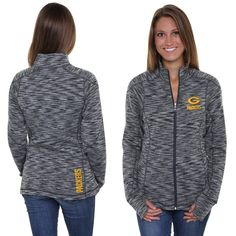 Pro Line Green Bay Packers Womens Max Static Full Zip Jacket - Gray