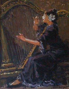 Adriaan Boshoff Harp player Oil 800 x 600 South African Artists, Harp, Artist Painting, Passion, Paintings, Oil, Music, People, Women