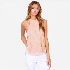 New Hot Summer Clothes Women Sexy Lace Casual Vest Top Blouse Sleeveless Fashion Lace Floral Print Women Tops