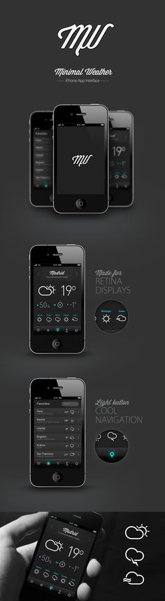 Minimal Weather by Pablo Chavida, via Behance *** Proposal for brand and mobile application design. A weather app with a clean, minimalist design and high level in the details.