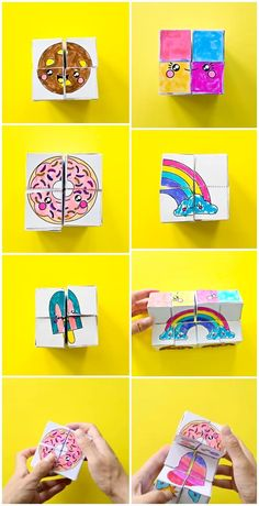 DIY Magic Paper Art Cube Get the free coloring templates to make this mesmerizing paper cube that transforms Fun game or puzzle for the kids Video included to show you ho. Paper Crafts For Kids, Crafts For Kids To Make, Diy Paper, Diy Crafts For Kids, Projects For Kids, Fun Crafts, Arts And Crafts, Kids Diy, Paper Art Projects