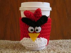 The Crochet Mommy: Angry Birds Coffee Cozy Crochet FREE Pattern