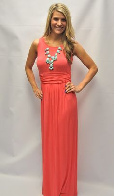 Coral Jersey Maxi w/Cut Out Back. Super Cute and Comfy. Runs fitted tts.