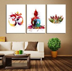 Watercolor Art - 3 Panel Buddha Wall Art Canvas Print, Buddha Om Symbol Watercolor, Large Buddha Yoga Art Print, Lotus Buddha Large
