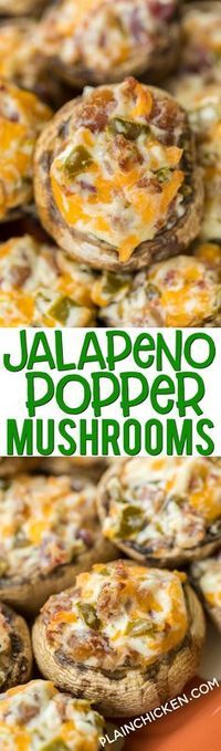 Jalapeño Popper Mushrooms - always the first thing to go at parties! Mushrooms stuffed with cream cheese, garlic, cheddar cheese, bacon and jalapeños. Seriously delicious! Can prep mushrooms ahead of time and refrigerate until ready to bake. Great for parties or a low-carb snack. #partyfood #mushrooms #jalapenopoppers #lowcarb