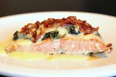 Bonefish Grill Copycat Recipe: Salmon topped with Spinach, Bacon & Gorgonzola Bleu Cheese = YUMM!