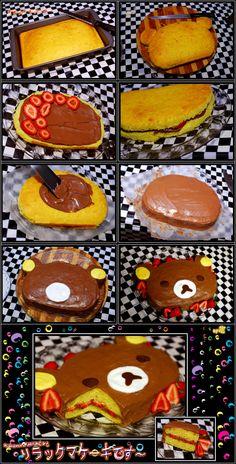 rilakkuma cake tutorial by asainemuri Pretty Cakes, Cute Cakes, Dessert Kawaii, Rilakkuma Cake, Cute Food, Yummy Food, Cake Recipes, Dessert Recipes, Desserts
