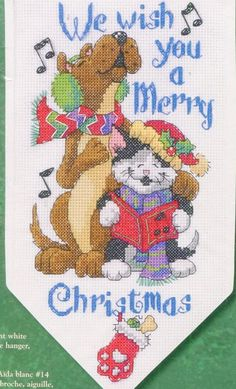 Title: Christmas Paws Banner Needlework Type: Counted Cross Stitch Kit Manufacturer: Dimensions 8727 Size: 8 x 14 Copyright date: 2004 Made in USA Designed by Todd Traomer  Description: Singing Dog & Cat in scarves and hats. Saying: We Wish You A Merry Christmas 8 x 14 inch Banner with wire hanger & tassel.  Includes: 14 count Aida fabric cotton floss needle wire hanger instructions  Condition: new in package  Item # 6148 UPC 088677087272    Click on this link to see other items in my...