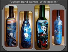 custom wine bottles,artistic wine home decor,van gogh starry night,masterpiece,wine art,home decor,most popular,house warming gifts