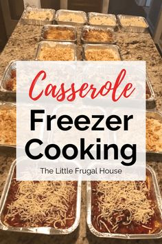 This casserole freezer cooking plan will help you stock your freezer with casserole freezer meals, perfect for busy nights. These quick dinners are so good. meals Casserole Freezer Cooking Plan - The Little Frugal House Freezer Lasagna, Freezable Meals, Chicken Freezer Meals, Freezer Friendly Meals, Make Ahead Freezer Meals, No Cook Meals, Freezer Recipes, Budget Freezer Meals, Frugal Meals