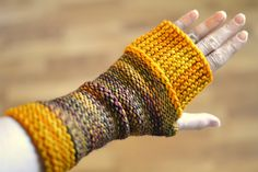 Camp Out Fingerless Mitts by tante ehm. malabrigo Rios in Piedras and Sunset colorway