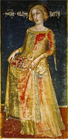 - OPUS INCERTUM -: SAYA, GONELA (II) de Mujer hasta el siglo XIV 1343-45. Mural de la capilla de San Miguel,  Jaime Ferrer Bassa, Monasterio de Pedralbes, Barcelona