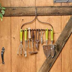 Got a rusty old steel rake that's seen better days? Don't just toss it. When mounted tines-out on a shed wall or a door, the rake's head becomes a vintage-look rack for your gardening tools that's as charming as it is convenient.