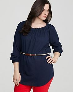 dfc5b78f42a MICHAEL Michael Kors Plus Size Belted Peasant Top Women - Plus - New  Arrivals - Bloomingdale s. Designer Plus Size Tops and Shirts