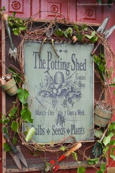 The Potting Shed Garden Shop Sign is part of garden Shed Signs - It's been a long hot summer and I'm beyond ready for fall, but Mother Nature has more summer temperatures for us in North Carolina before it's time to shop for pumpkins, mums and … Garden Shop, Garden Pots, Garden Ideas, Garden Benches, Garden Tool Shed, Garden Junk, Veg Garden, Fruit Garden, Bulbs And Seeds