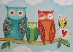 Owl Family NEW DESIGN  2014 by pcartercarpin on Etsy, $24.00