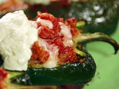 Quinoa Stuffed Poblano Peppers by Bobby Deen. Use (red or green) bell peppers instead. One of my favorite ways to eat quinoa! Mexican Dishes, Mexican Food Recipes, Vegetarian Recipes, Cooking Recipes, Healthy Recipes, Ethnic Recipes, Healthy Eats, Rice Recipes, Delicious Recipes