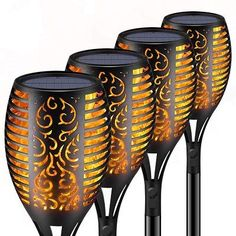 Torch Lights,Waterproof Flickering Flame Torch Lights Outdoor Solar Spotlights Landscape Decoration Lighting Dusk To Dawn Security Path Light For Garden Patio Deck Yard Driveway 4 Pack,,Christmas Day Products,Gifts Produ Tiki Lights, Path Lights, Solar Lights, Outdoor Torches, Tiki Torches, Strand Camping, Flame Design, Dusk To Dawn, Torch Light