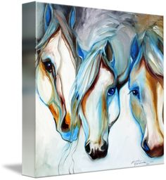 """"""" WILD HORSES in ABSTRACT"""" by Marcia Baldwin, Shreveport, Louisiana // Horses are a favorite subject of Marcia Baldwin, Artist. Here the equine figures are painted in oils in an abstract composition, with blues, browns, creams and white. The original has already SOLD, but please enjoy the fine art prints available here on Imagekind. Thank you ! // Imagekind.com -- Buy stunning fine art prints, framed prints and canvas prints directly from independent working artists and photographers."""
