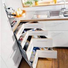corner cabinet solutions in kitchens – Kitchen cabinets Corner Drawers, Corner Cupboard, Kitchen Corner, New Kitchen, Kitchen Decor, Kitchen Ideas, Corner Cabinets, Corner Storage, Cupboard Ideas