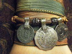 Mystical Moonlight Boho Gypsy Silk Wrap Bracelet by AirSignStudios